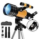 Telescopio astronómico, telescopio Refractor astronómico de 70/300 mm con trípode y buscador para niños/Principiantes, con Adaptador para teléfono Inteligente y Control Remoto inalámbrico