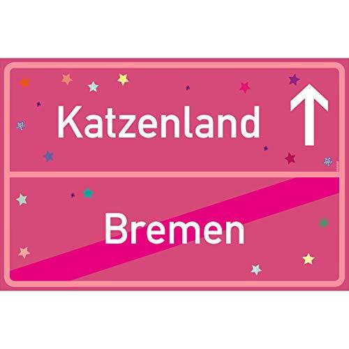 vanva Bremen Ortsschild Katzenland Schild Bremen Katzenland Rosa dunkel 300x200 - Lustige Geschenke oder Dekoration - Party Deko Geschenkideen