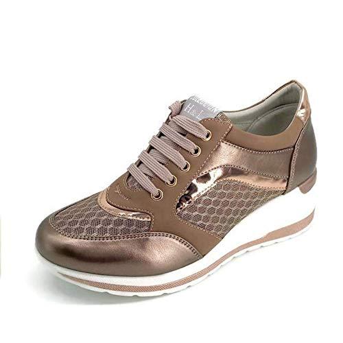 Zapatilla Deportiva con Estilo Mujer/Bambas de Chica con Cuña/Zapato de Mujer Sport para Vaqueros/Tenis con Cuña Baja (Bronce, 37)