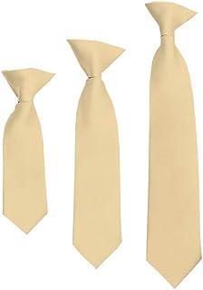 "Solid Beige Boy's 14"" Clip On Tie"