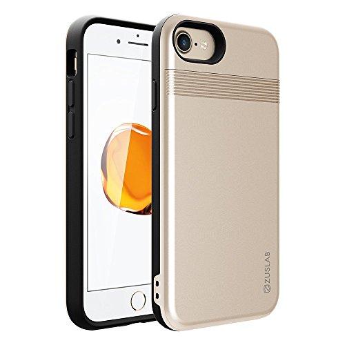 iPhone 8 / iPhone 7 Funda, ZUSLAB Tarjeta Monedero Cartera Ranura de la Tarjeta Protección Cover Carcasa para Apple iPhone 8 / iPhone 7 [Slide Armor][Dorado]