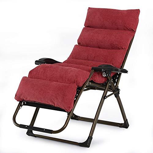 ZEFENG FENGZE Home Leisure Chair - Garten Lounge Stuhl Klappstuhl Siesta Stuhl Outdoor Beach Stuhl Liegestuhl Sessel Sessel Abnehmbare Matte (Color : Red)