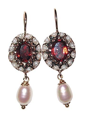 Perla Pendientes con un color burdeos de farbenen granate de piedra Brisur–Plancha Plata de ley rojo de oro fabricado en italia.