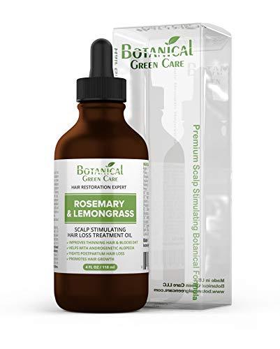 """Rosemary & Lemongrass"" Hair Loss Scalp Treatment. DHT Blocker, Organic Hair Growth Oil For Hair Thinning Prevention Postpartum Alopecia Saw Palmetto, Caffeine, 4 Fl Oz"