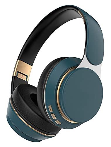 EWRG HJDZCPB Auriculares de Bluetooth inalámbrico Auricular estéreo Plegable Ajustable con micrófono (Color : Naveblue)