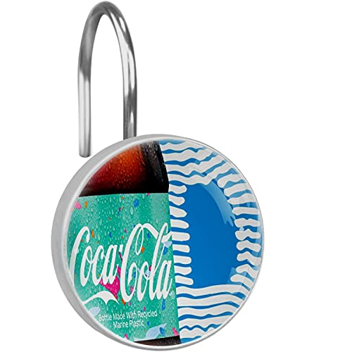 Coca Cola grün-blaue Duschvorhang-Haken, Ringe, 12 Stück, Kristallglas-Duschvorhanghaken, rostfrei, Vorhangstange, Duschringe, dekorativ für Badezimmer