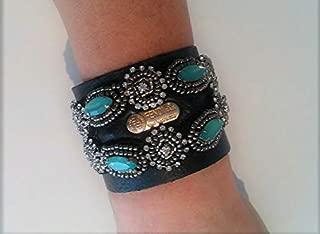 FENDI upcyle Black Leather, authentic Fendi Gold FENDI emblem. Cuff Bracelet!!