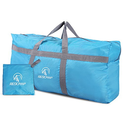 REDCAMP Foldable Travel Bag, 96L Extra Large Sports Bag, Packable Duffle Bag, Lightweight Waterproof Duffel Holdall Bag, Blue