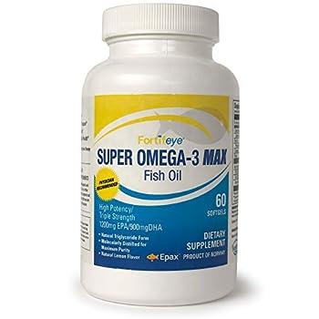 Fortifeye Vitamins Super Omega-3 Max Fish Oil Lemon Flavor Natural Triglyceride 1200 EPA / 900 DHA Per Serv.- 30 Day 60 Max Softgel Capsules