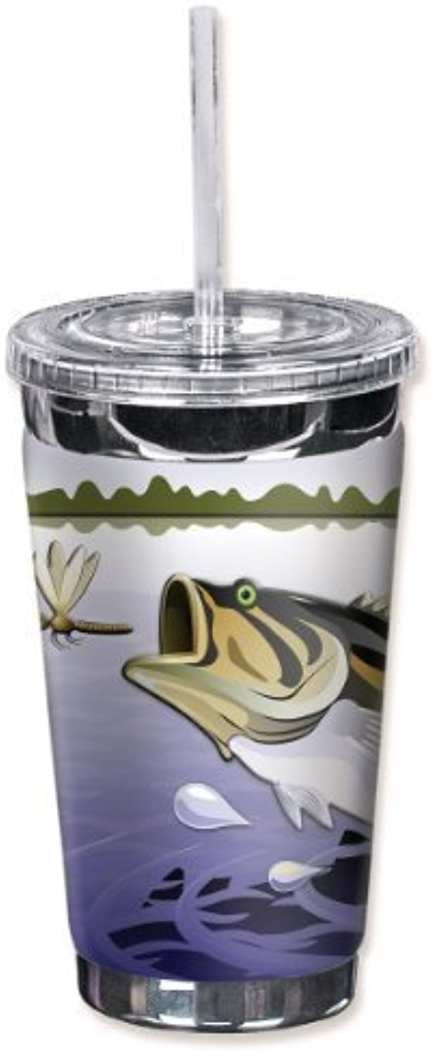 Mugzie 843-TGC  Fish & Dragonfly  To Go Tumbler with Insulated Wetsuit Cover, 16 oz, noir by Mugzie