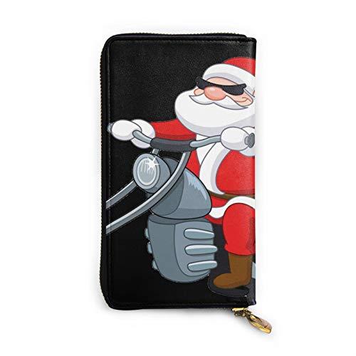 Cartera larga para mujer con diseño de Papá Noel con motocicleta de cuero genuino para tarjetas de crédito