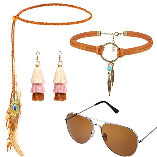 Hippie Bohemia Costume Set for Women Kit Includes Sunglasses, Unicorn Suede Choker Necklace and Tassel Earring, Bohemia Feather Headband for 60s 70s Party Accessories