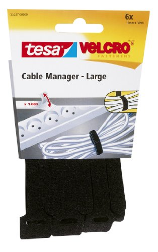 Tesa 55237-0-0 - Cable manager Large 12 mm x 38cm, schwarz