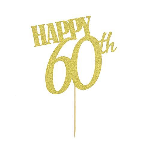 Oblique Unique® Torten Kuchen Topper Aufsatz Happy 60th 60 Geburtstag Jubiläum Deko - Gold mit Glitzereffekt Muffin Cupcake Dekoration