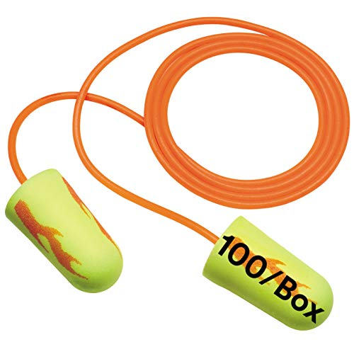 3M - 80529110623 Ear Plugs, 100/Box, E-A-Rsoft Yellow Neon Blasts 311-1257, Corded, Disposable, Foam, NRR 33, Drilling, Grinding, Machining, Sawing, Sanding, Welding, 1/Poly Bag