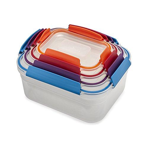 Joseph Joseph 81099 Nest Lock Plastic Food Storage Container Set with Lockable Airtight Leakproof Lids, 8-piece, Rainbow
