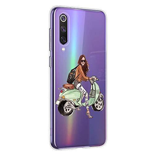 Oihxse Coque pour Huawei Honor Play, Etui en Transparente Silicone TPU 3D Protection Bumper Ultra Mince Cristal Housse avec Motif Fille D'Ete Mer Anti Choc Cover (A5)