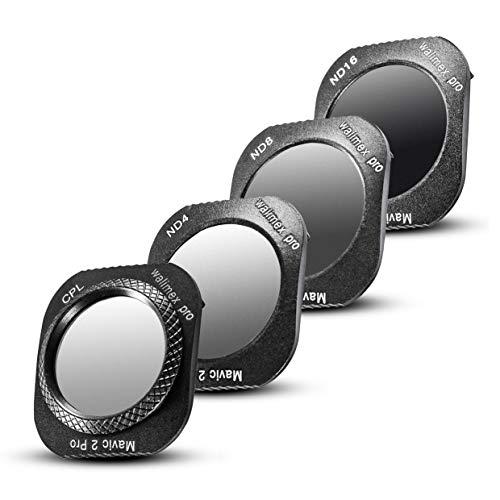 Walimex pro Drohnenfilter Set DJI Mavic 2 Pro – Filter Polfilter CPL, Graufilter ND 4, ND 8, ND 16, ideal für Landschaftsaufnahmen, optisches Glas, wasserdichter Aluminiumrahmen, schwarz