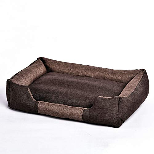 Avior Pets Beitun Hundebett Hundekissen Katzenbett mit abnehmbarem Bezug und wendbarem Kissen (S, Kaffeebraun)
