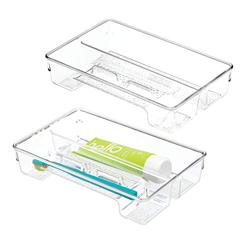 mDesign Plastic Toothbrush Holder, Storage Organizer Bin for Bathroom Vanity, Drawer, Cabinet, Closet - Holds Electric Spin Toothbrush, Toothpaste, Dental Floss Picks, Whitening Strips, 2 Pack - Clear
