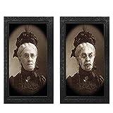 Alittle Marco de Fotos de Terror, Retratos espeluznantes Cuadro Colgante, Marco de Fotos Decorativo de Pared con Cara cambiante 3D Accesorios Ghost Craft, para Fiesta temática de Halloween Escena