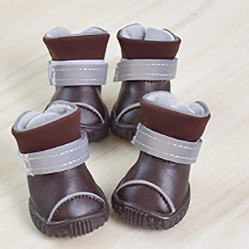 FADJIKKP 4 Pack, Hundebreathable Haustier-Schuhe, wasserdichtes Gewebe, justierbare magische Bügel, Reflektierende Außen Boot, geeignet for kleine und mittelgroße Hunde wie Teddy, Husky, Etc.