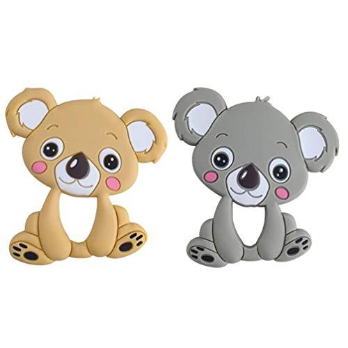 TOYANDONA 2 Piezas Koala Juguetes para La Dentición del Bebé Silicona de Dibujos Animados Animal Mordedor para Bebés Bebé Molar Juguete Chupete Triturador de Dientes para Bebés Pequeños
