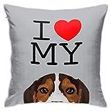 MZZhuBao Funda de cojín cuadrada con texto en inglés 'I Love My Beagle', para...