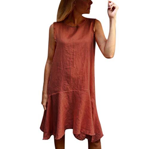 Ulanda-EU Mode Frauen Kleid Kurzarm Baumwolle Leinen Casual Kleider Damen Tank Kleider Lose Bluse Hemd Shirt Retro Kleid Streetwear Freizeitkleid Strandkleider