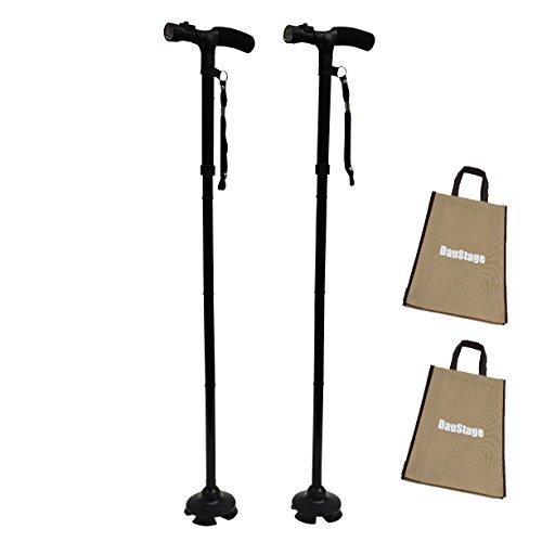 自立式 倒れない 折りたたみ ステッキ 杖 紳士用 婦人用 軽量 LEDライト付 5段階 伸縮可能 散歩 登山 トートバック付き (02、紳士用 黒 2本組)