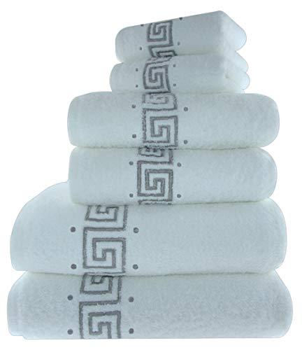 Set di 6 asciugamani da bagno ricamati, eleganti, 100% cotone, con greca, 600 g/mq, 2 asciugamani da bagno, 2 asciugamani per le mani e 2 asciugamani per gli ospiti.