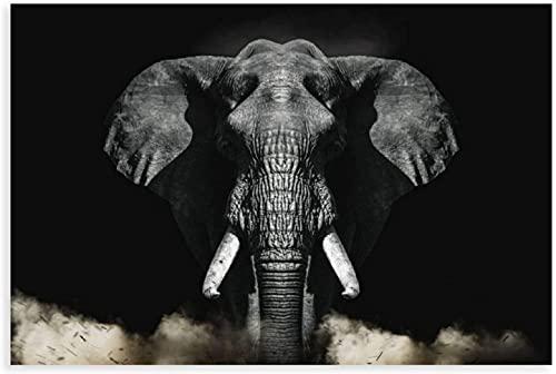 ZRRTTG Lienzo Pintura Al óLeo Cuadro de Elefante Salvaje para decoración Familiar Moderna Poster Y Estampados Arte Cuadros 15.7'x23.6'(40x60cm) Sin Marco