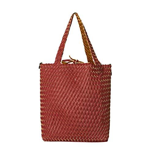SKUTARI® GIADA Original Bolso grande de mimbre mujer Shopper de piel vegana con embrague independiente - Bolso de tela, bolso reversible, bolso de mano, 30 x 40 x 13 cm - MADE IN ITALY