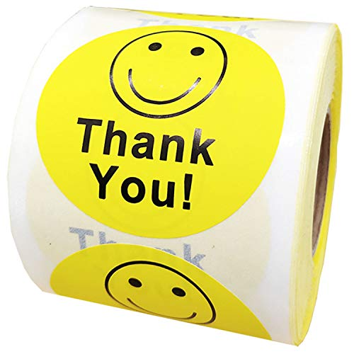 """Besttile Thank You Circle Smile Yellow Smiley Face 2"""" Round Circle Mailing Labels Stickers - 1 Roll / 500 Labels Per Roll"""