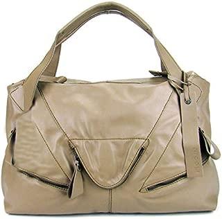 Italian Made Beige Leather Oversized Designer Tote Handbag