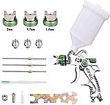 Kacsoo Pistola de pulverización de aire HVLP con 3 boquillas de pulverización, 1,4 mm, 1,7 mm, 2 mm 600cc kit de herramientas de pintura con aerógrafo para vallas, techos, paredes, suelos y pintura