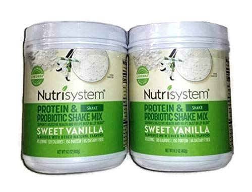 NUTRISYSTEM Protein & Probiotic Shake Sweet Vanilla Shake Mix (2 CONTAINERS) - Support Digestive Health & Help Bust Belly Bloat…
