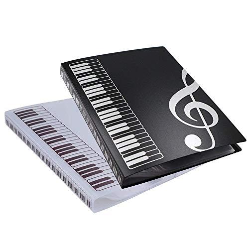A4 Musik Ordner durchsichtigem Kunststoff 40 Taschen zum Speichern von Dokumenten, Interviews, Lebensläufen und Präsentationen (1 packung 2)