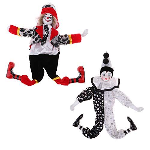 FLAMEER 2 Stücke 15 Zoll Retro Porzellan Hängen Fuß Clown Puppe Harlekin Puppe Zirkus Requisiten