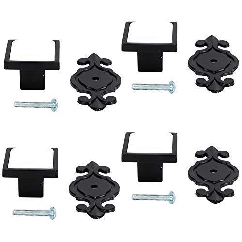 Oumefar Tiradores de Puerta fáciles de Instalar Moderno y Hermoso Cromado Brillante 4 Juegos de manijas de un Solo Orificio para armarios, cajones,(336 Matte Black-White)