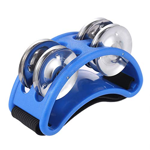 Foot Tambourine For Guitar Percussion Musical Instrument with Metal Jingle Bell for Drum Accessory Instrument (Blue)