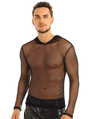 CHICTRY Men's Sexy Mesh Long Sleeve See Through Fishnet T-Shirts Hoodies Muscle Top Black X-Large