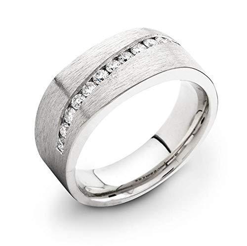 Men's 14 karat white gold diamond channel 0.50 TCW [Alternative dealer] band wedding Sale SALE% OFF
