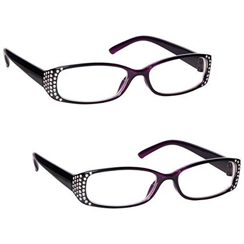 The Reading Glasses Company Die Lesebrille Unternehmen Leser Wert 2er-Pack Designer Stil Frauen Damen RR93-5 +2, 50 , Schwarzer Und Lila Diamonte Stil, 2 Stück
