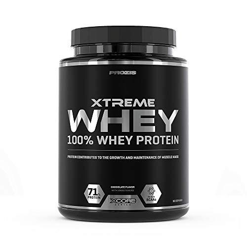 Prozis Xtreme Whey Protein SS Aumenta el Crecimiento y el Mantenimiento de la Masa Muscular, Suplemento Vegetariano con BCAA, Glutamina y Vitaminas, Chocolate - 2000 g
