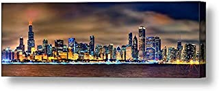 PHOTOSBYJON Canvas Chicago Skyline at Night Color 16 inches x 46 inches City Downtown Photographic Panorama Print Photo Picture