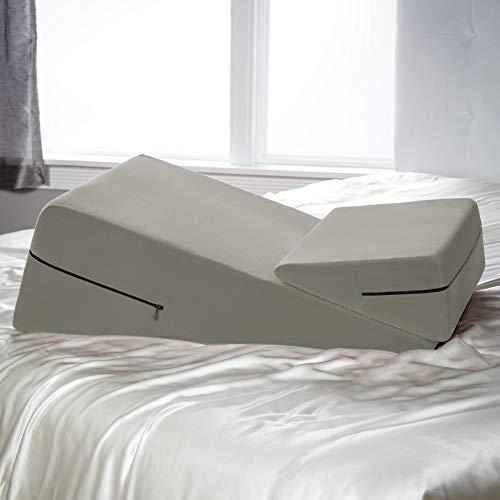 """Avana Micro-Velvet Slant Combo 12"""" & 7"""" Height - Firm Density Bed Wedge Set for Back and Knee Support"""