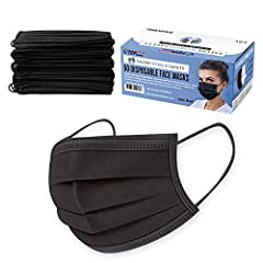 BOX of 50 BLACK MASKS in SANITARY DISPENSER BOX: Our 3-layer sanitary masks come in a sealed plastic shrink-wrapped box that has a perforated dispenser top, so you can conveniently dispense one mask at a time. 3-LAYERS of FILTERING PROTECTION: Our 3-...