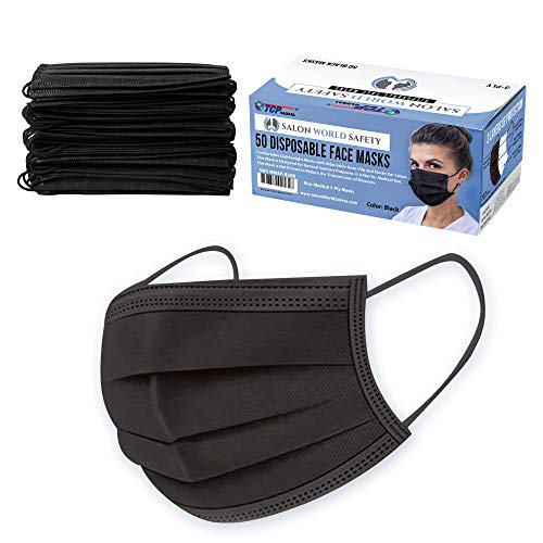 TCP Global Salon World Safety Black Masks (Sealed Dispenser Box of 50) - 3 Layer Disposable Protective Face Masks with...