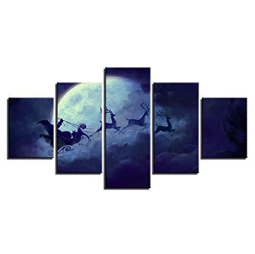 lglays Cuadro de decoración de lienzo moderno abstracto, 5 piezas, ciervo en el cielo, corriendo luna, carteles modulares HD impresos arte de la pared - 20x35cmx2,20x45cmx2,20x55cmx1